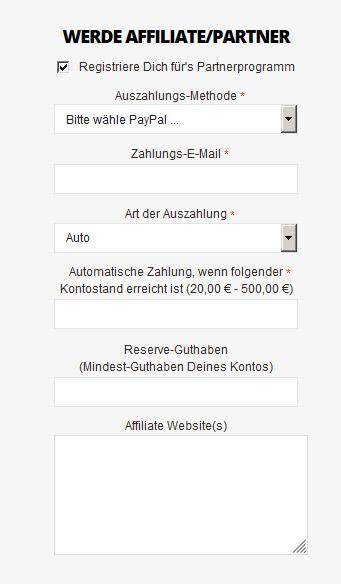 Registrierung von User- und Partner-Konto