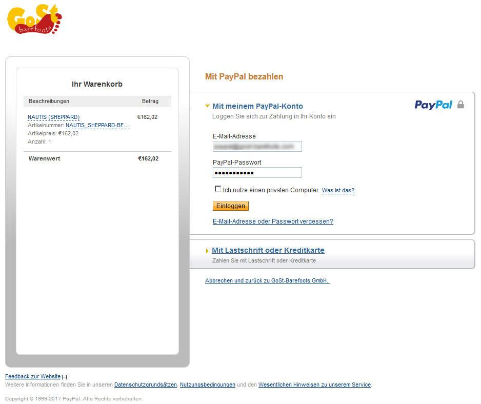 Ansicht PayPalExpress DE