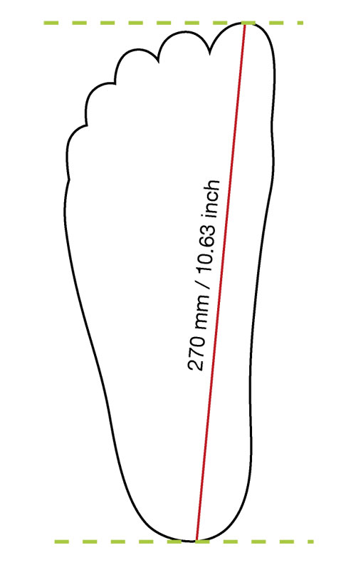 Draw a line and lable it with your foot length (cm or inch)