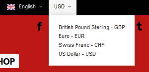Change of currency (EURO, USD, British Pound Sterling)